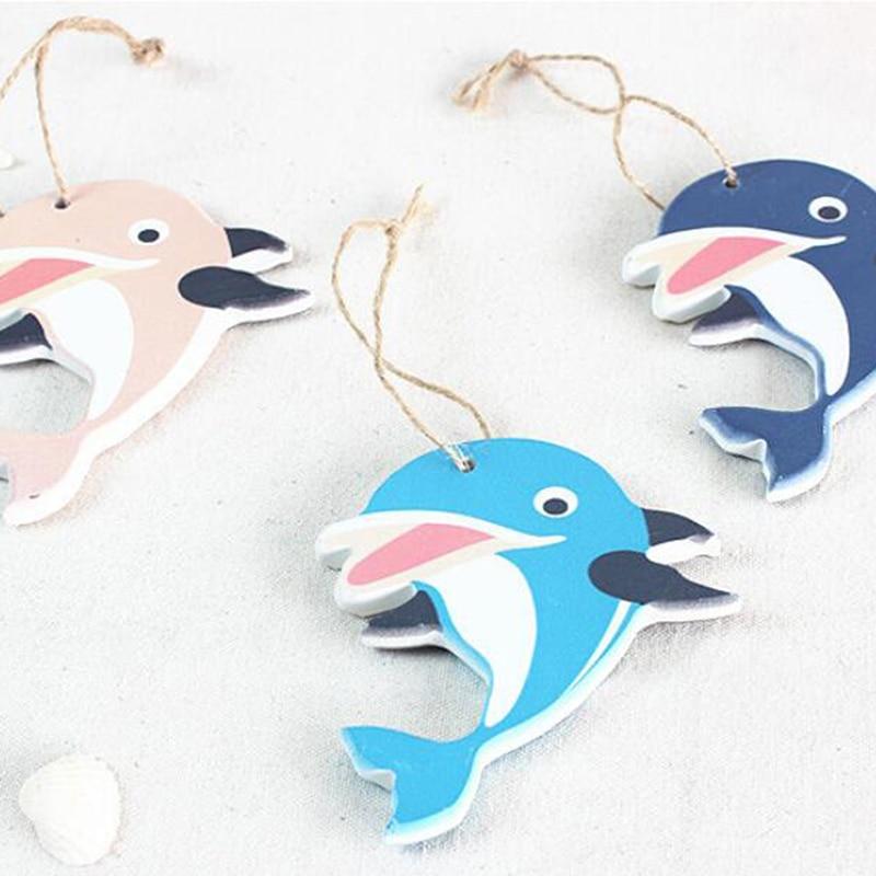 Украшения в виде дельфина в средиземноморском стиле, деревянная подвесная гирлянда в виде морской звезды, товары для украшения дома на