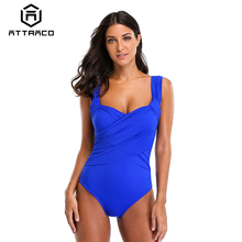 Attraco Women Swimwear One-Piece High Waist Front Cross Swimsuit Sexy Bodysuit Solid Ruched Monokini plus size skirted ruched one piece criss cross swimsuit