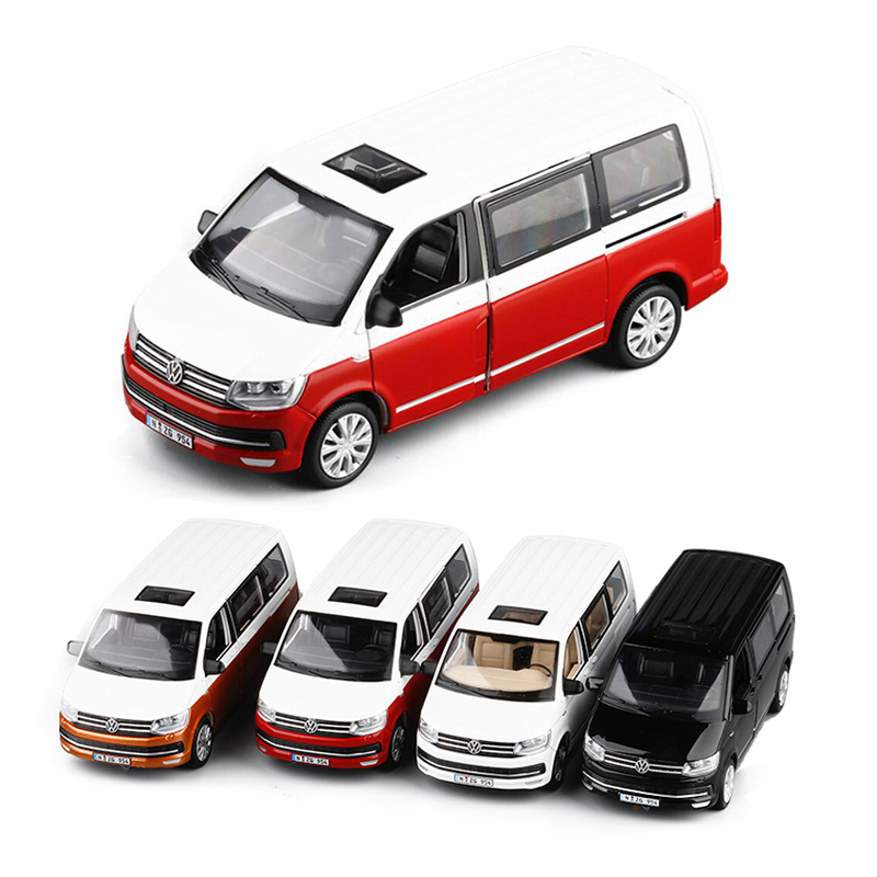 4 Colors 1/32 T6 Van Diecast Model Car Bus MPV Boy Girl Gifts Collection With Light And Sound Gift Toys V204