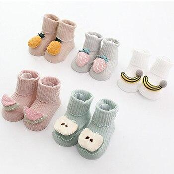Baumwolle Baby Socken Cartoon Obst Neugeborenen Socken Gummi Anti Slip Infant Socken Boden Aktien für Kinder Kinder Herbst Frühling Socken