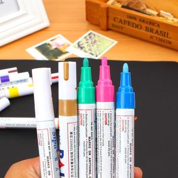 Permanent Marker White Oil-Ink Mark Pens Stationery school & office supplies cd mark marker wood marker pen rock 12 Color
