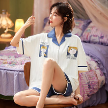 Summer Cute Cartoon Print Women Pajamas Set For Female Combed Cotton Casual Sleepwear T-Shirts and Shorts Pjs Homewear Plus Size