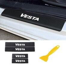 Carbon Faser Schützen Auto Aufkleber Für Lada Vesta Auto Innen Zubehör Tür Schwellen verschleiss Willkommen Pedal Schwelle Aufkleber