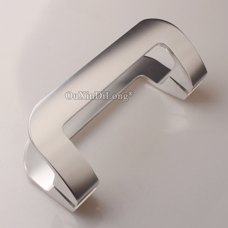 Top Designed 2Pairs Solid Space Aluminium Glass Sliding Door Handles Home Office Pull / Push Door Handles Length 220mm/250mm