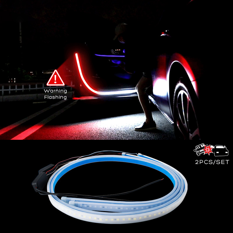 Decoration 2PCS Sensor Welcome Light with Waterproof Anti Rear-end Collision Suitable Fit for All Brands of Cars Used for Lighting SUNACCL Car Door LED Strip Warning Lights