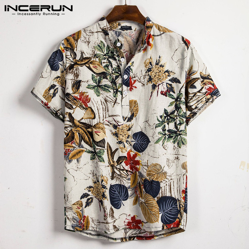 INCERUN Men Hawaiian Shirt Beach Printed Short Sleeve Stand Collar Blouse 2020 Casual Vacation Streetwear Cotton Men Shirts 3XL