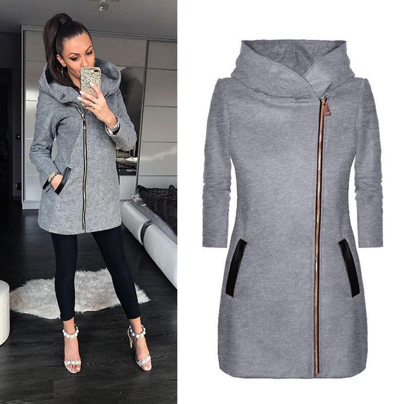Autumn Winte Women Casual Long Zipper Hooded Jacket Hoodies Sweatshirt Vintage Femme Plus Size XL Outwear Hoody Coat Clothing