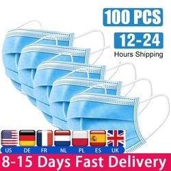100psc 使い捨て防塵マスク 3 層フィルター、防塵不織布マスクコントラスト fpp2 kf94 PM2.5 48 時間配信