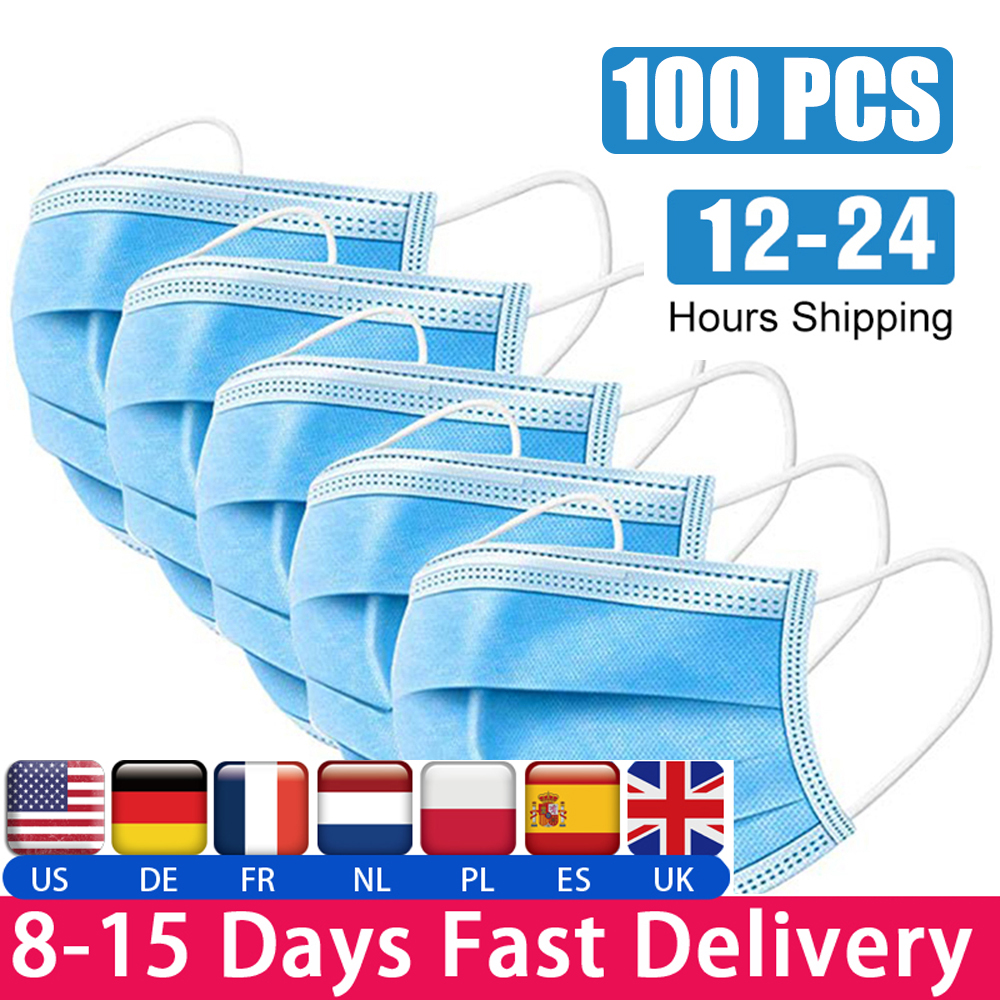 100psc Disposable Dust-proof Masks 3-layer Filter, Dustproof Non-woven Masks Contrast Fpp2 Kf94 PM2.5 48 Hours Delivery