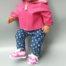 doll clothes for 43cm Baby jacket PU leather coat hooded set 17 inch baby winter