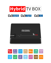 Mecool ki pro DVB S2 DVB T2 DVB C decodificador android 7.1 caixa de tv 3gb 16 amlogic s912 octa núcleo 64bit 4 k 2.4g/5g wifi conjunto caixa superior