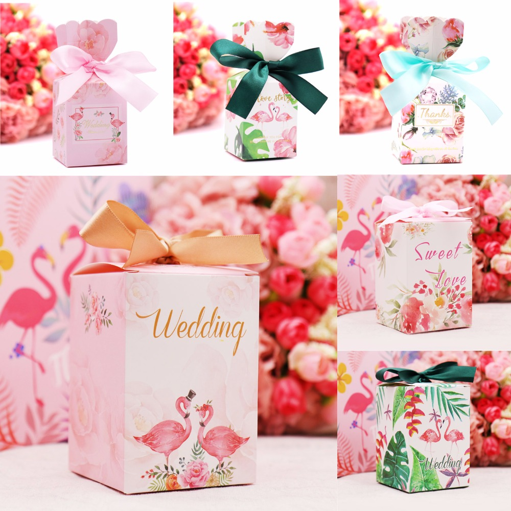10pcs Flamingo Favor Box And Bag Sweet Gift Paper Candy Boxes For Wedding Decor Baby Shower Birthday Guests Event Party Supplies