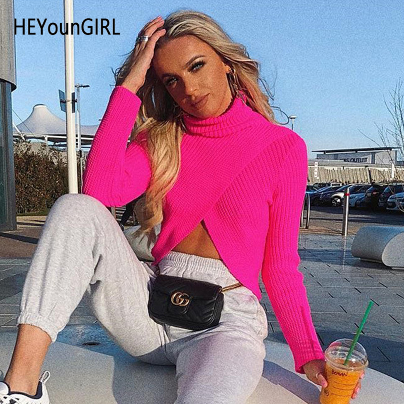 HEYounGIRL Split Sexy Turtleneck Knitted Sweater Women Loose Casual Knitwear Pullover Long Sleeve Turtle Neck Knit Sweaters 2019