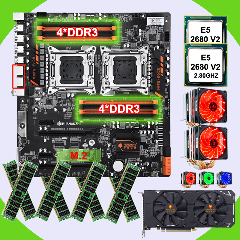 HUANANZHI Dual X79 Motherboard With 8 DDR3 DIMMs Dual CPU Xeon E5 2680 V2 With Coolers RAM 128G(8*16G) Video Card GTX1660TI 6G