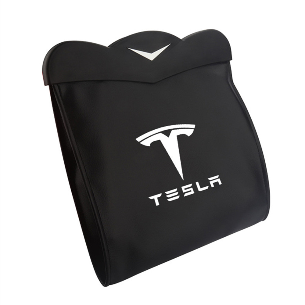 1X Seat Back Trash Bag Storage Box For Tesla Model 3 Model S Model X PU Leather Seat Back Organizer Bag Car Accessories