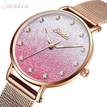 SUNKTA Women Watches Top Brand Luxury Female Fashion Rose Gold Pink Watches Casual Dress Full Steel Wristwatch Relogio Feminino dress watches 8 z110 15dz110 page 3