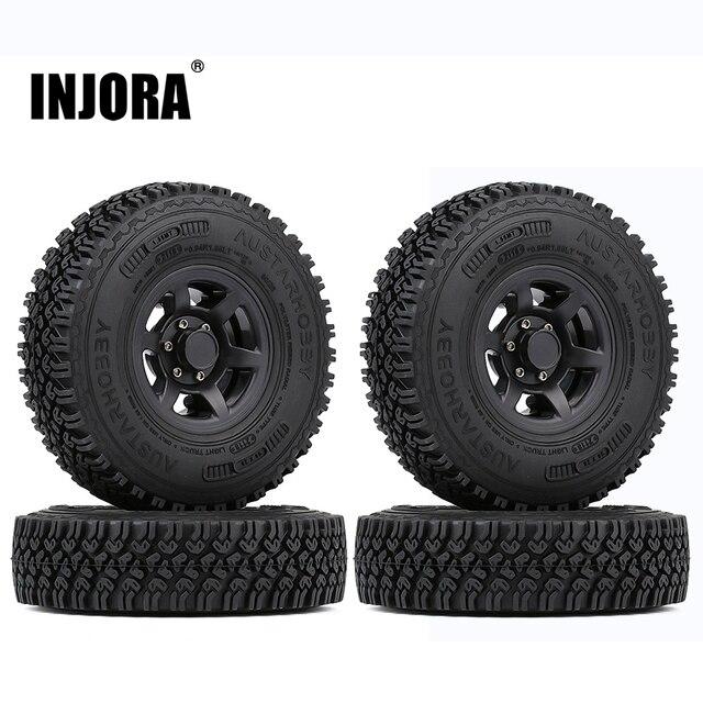 INJORA 4PCS 1.55 Beadlock Plastic Wheel Rim Tires for RC Crawler Car Axial AX90069 D90 TF2 Tamiya CC01 LC70 MST JIMNY 1