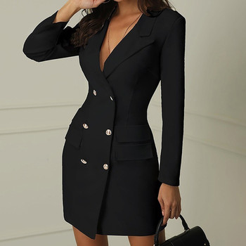 40#Sexy Black Formal Dress Office Lady Women Double Breasted Blazer Plus Size Slim Bodycon Work Wear Dress Droppship платье image