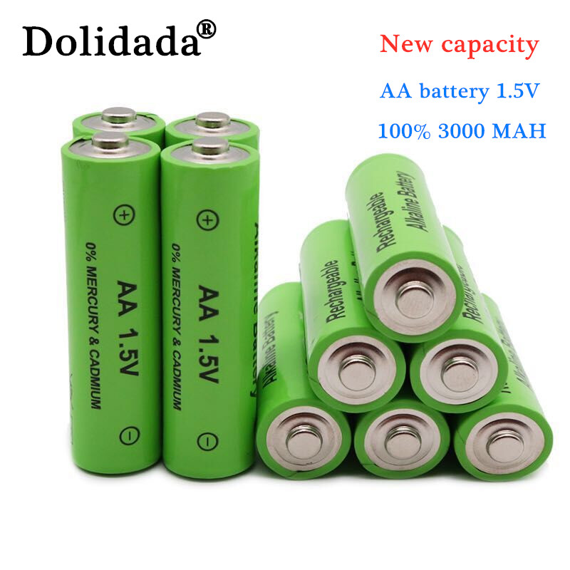 1-24 шт. новая этикетка, перезаряжаемая батарея 3000 мАч, AA 1,5 В. Новая перезаряжаемая щелочная батарея для игрушек со светоизлучающими диодами