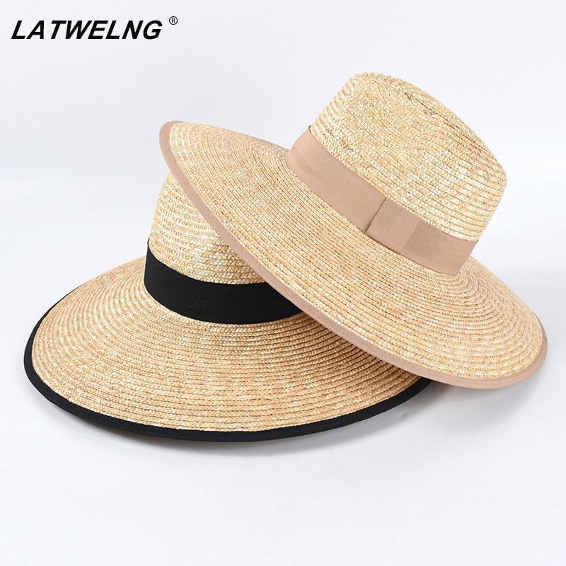 Oversized 12cm Wide Brim Summer Straw Uv Beach Hat For Ladies Vacation Women Sun Protection Visor Hat Panama Big Hat Jazz