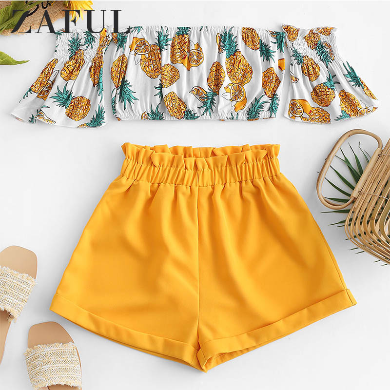 ZAFUL Off Shoulder Pineapple Top And Paperbag Shorts Set Short Sleeves Women Sexy Two Pieces Set Crop Top High Waist Shorts 2019