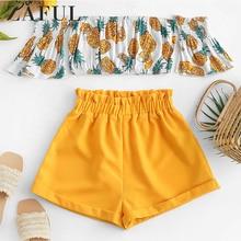 ZAFUL Off Shoulder Pineapple Top And Paperbag Shorts Set Sho