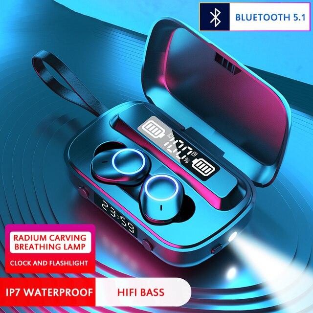 Tws 2000mah зарядный чехол ipx7 водонепроницаемый bluetooth