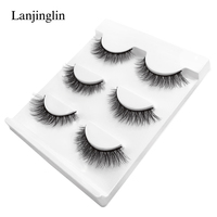 LANJINGLIN 100 boxes natural long false eyelashes fake lashes makeup 3d mink lashes extension eyelash mink eyelashes