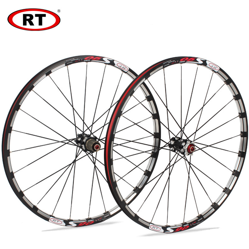 <font><b>RT</b></font> S90 Mountain Bike <font><b>Wheelset</b></font> MTB Bicycle 26 27.5inch Milling Trilateral Sealed Bearing Wheels 24H Rim Front 12*100 Rear 15*135 image