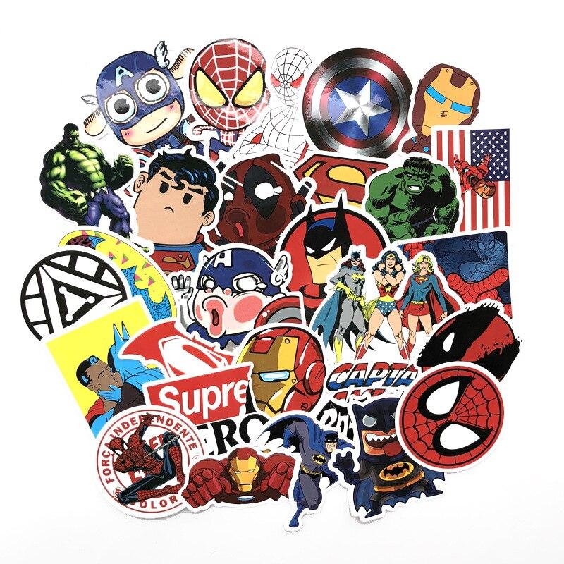 50Pcs/Lot Stickers Marvel Avengers Super Hero Car Laptop Notebook Decal Fridge Skateboard Batman Superman Hulk Iron Man Kids Toy