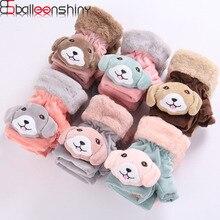 BalleenShiny Kids Winter Gloves Lovely Cartoon Dog Fingerless Mittens For Child Boys Girls Soft Fluffy Warm Winterproof