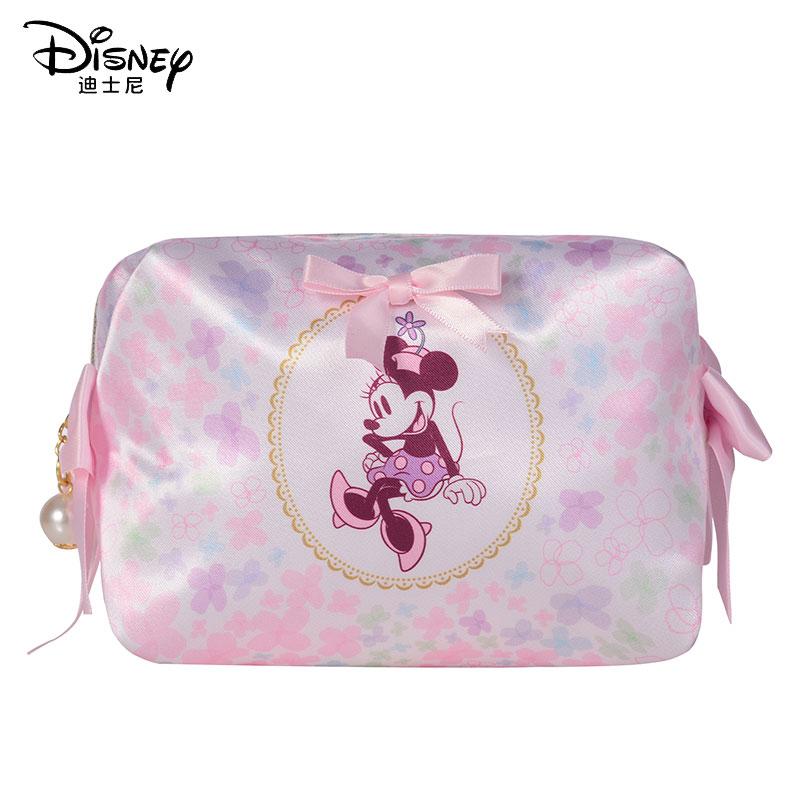 Disney Minnie Cosmetic Bag Women Bag Girl Student Travel Convenient Storage Bag Wash Bag Waterproof Makeup Bag Bow Toiletry Bag