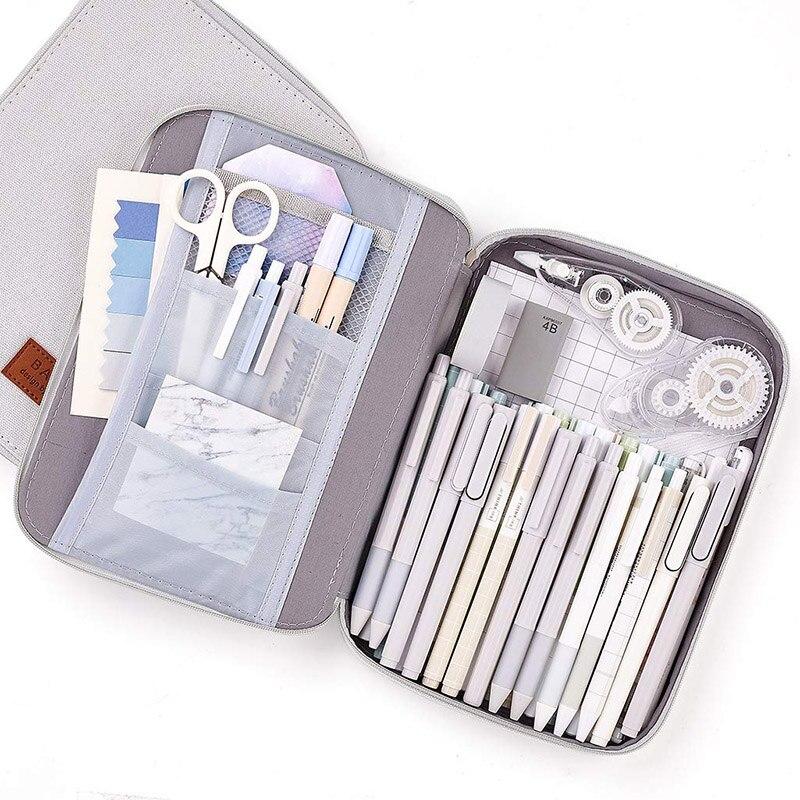 Pencil Case Simple Large Capacity Pencilcase Pen Case Supplies Canvas Pencil Bag School Box School Pencils Pouch Stationery 10