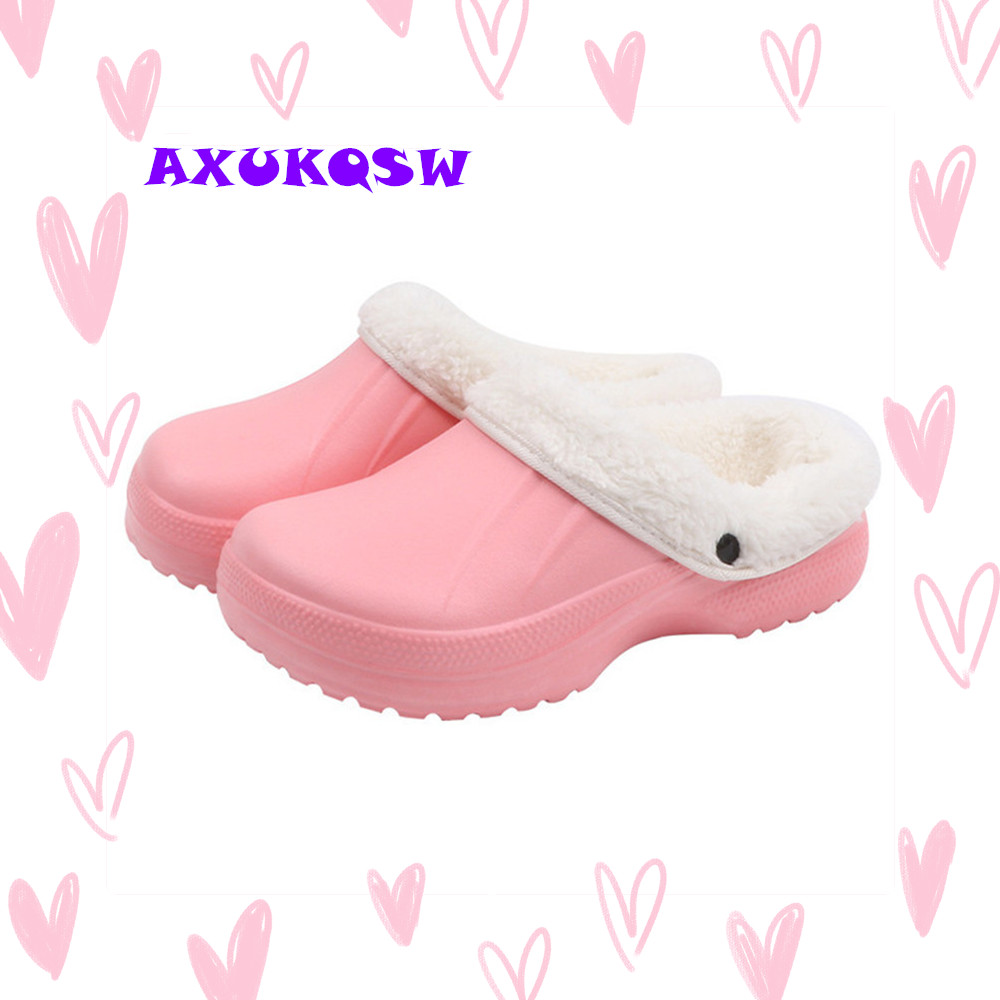 Casual Crocus Clogs With Fur Winter Shoes Size 45 For Women Soft Plush Slippers Fleece Lining Home Floor Warm Sandals Fur Shoes