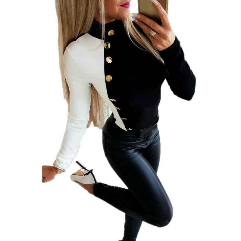 여성 스웨터 2019 가을 겨울 패션 긴 소매 단추 솔리드 터틀넥 스트레치 스웨터 pullovers 탑스