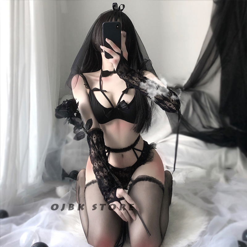 5pcs Sexy Lingerie Set For Women Lace Push Up Transparent Bra Erotic Girl Underwear G-String Stocking Sling Bride Gift Girlfiend 2