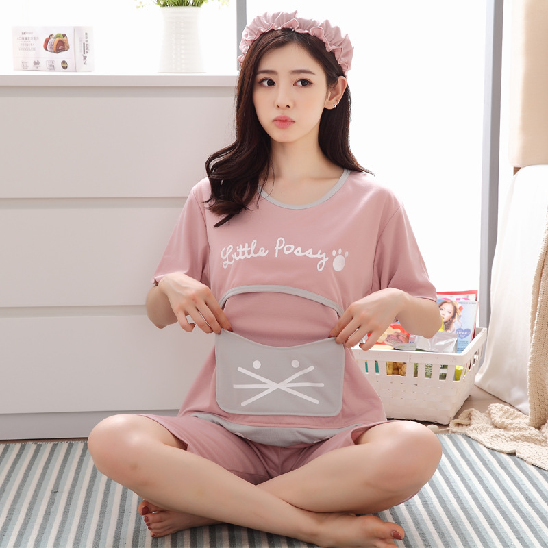 Summer Confinement Clothing Pregnant Women Japanese Korean Hoodie Pajamas Short Sleeve Shorts Pregnant After Nursing Home Wear 5