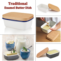 Enamel Butter Box Dish Fruit Preserve Storage Box New Butter Container With Wooden Lid Cover Kitchen Accessories|Dishes & Plates| |  -