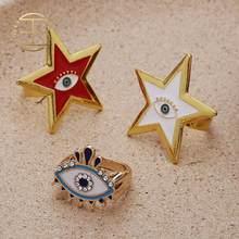 2020 New Adjustable Bohemian Enamel Pentagram Star Evil Eye Shape Women's Finger Ring Gold Vintage Eye Star Boho Ring(China)