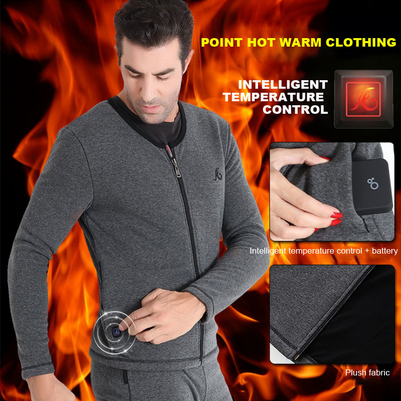 ZYNNEVA Winter Electrical Heating Skiing Underwear Set Long Sleeves Men Thermal Coats Heated Shirts Winter Camping Pants GC4102