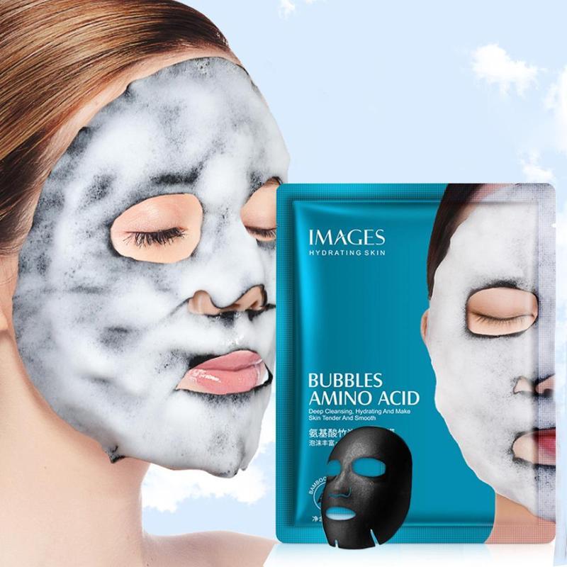 1pcs Bamboo Charcoal Black Mask Oxygen Bubble Sheet Mask Amino Acid Bubble Mask Hydrating Moisturizing Oil Control Face Mask
