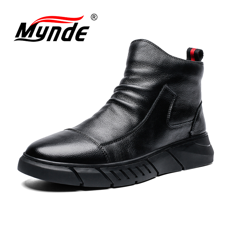 Brand New Autumn Winter Soft Leather Casual Shoes Warm Plush Snow Boots Fashion Ankle Boots Working Boots High Help Men Shoes