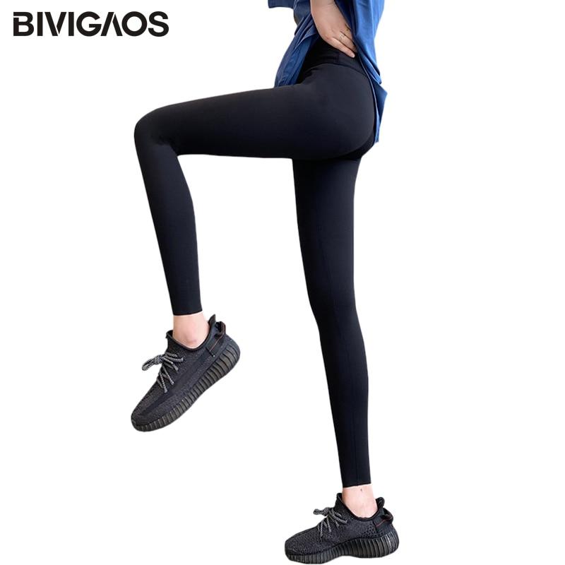 BIVIGAOS 2020 New Black Leggings Women's Spring High Waist Liquid Skinny Thin Fitness Legging Sharkskin Stretch Workout Leggings