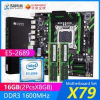 HUANAN ZHI X79 carte mère ensemble X79-ZD3 REV2.0 M.2 MATX avec Intel Xeon E5-2689 2.6GHz CPU 2*8GB (16 GB) DDR3 1600MHz ECC/REG RAM