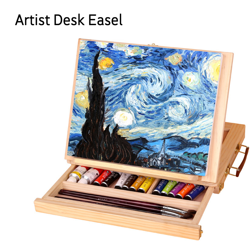 Wooden Easel Painting Easel Artist Desk Easel Portable Miniature Desk Folding Easel Table Box Oil Paint Accessories Art Supplies