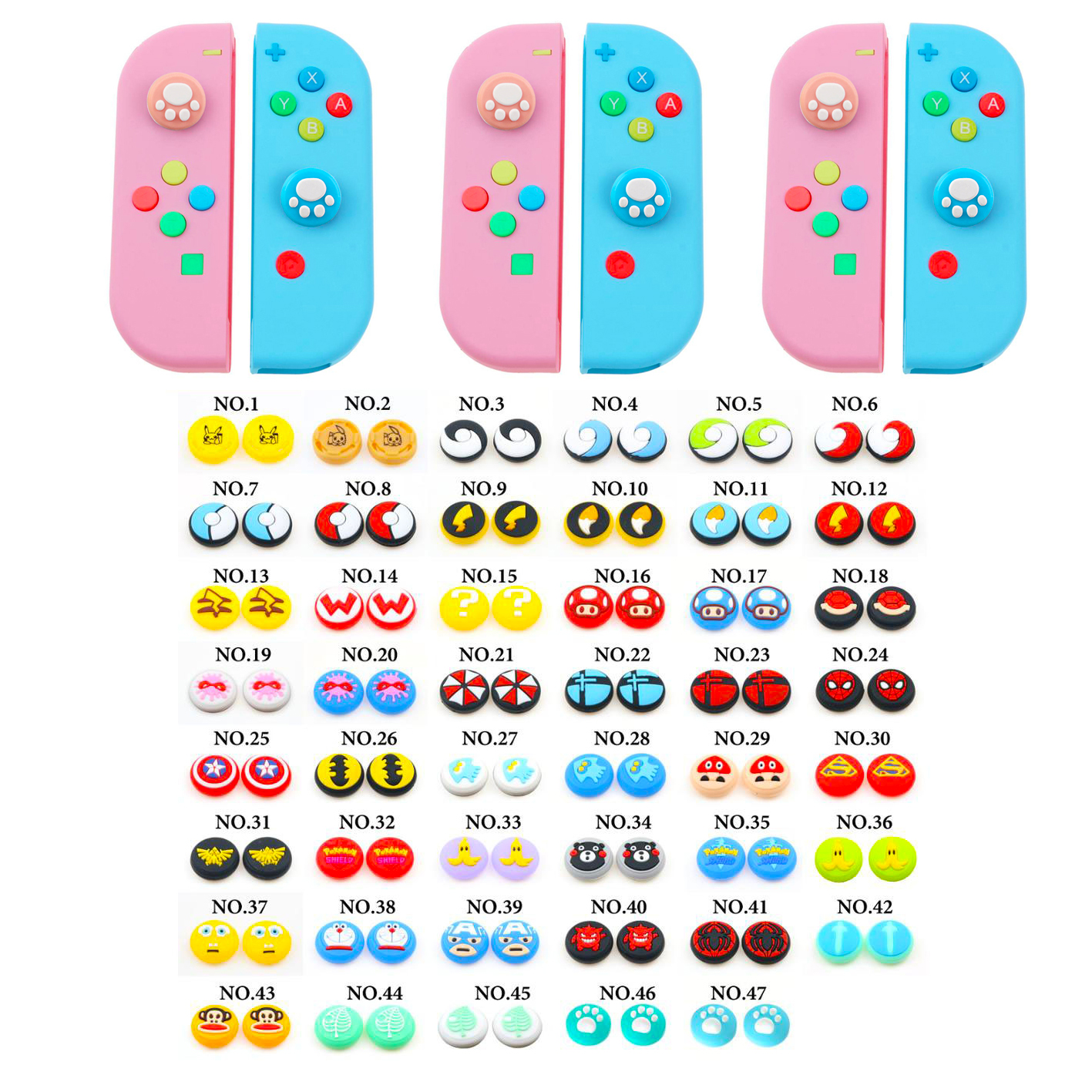 4PC Nintend Switch Joy Stick Thumb Grip Kawaii Case For Switch Lite Cover Animals Crossing Shell For Nintendo Switch Accessories