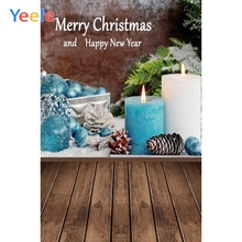 Yeele Christmas Photocall Candles Wood Decors Snow Photography Backdrops Personalized Photographic Backgrounds For Photo Studio