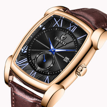 CHENXI Brand Vintage Men Watch Retro Genuine Leather Strap Watches Roman Numerals Antique Square Mens Clocks Gift Waterproof