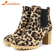 купить KARINLUNA Plus Size 34-48 Winter Add Fur Platform Booties Lady Fashion Leopard Ankle Boots Women High Chunky Heels Shoes Woman дешево