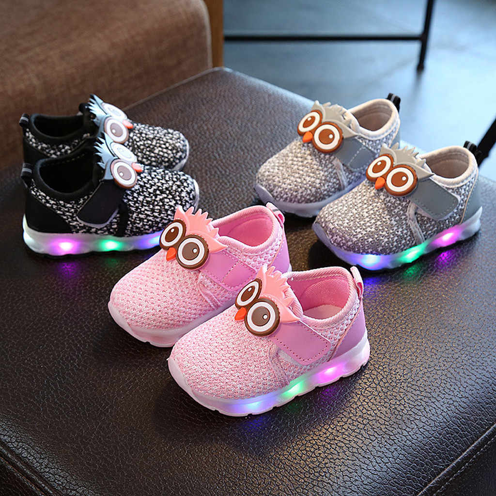 Kids Shoes Toddler Girls Boys Cute Cartoon Owl Sneakers for Kids Autumn Winter LED Luminous Sport Shoes Children Runing Sneakers
